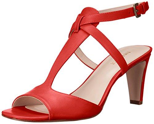 Nine West Deara de las mujeres vestido piel sandalia Rojo/Anaranjado