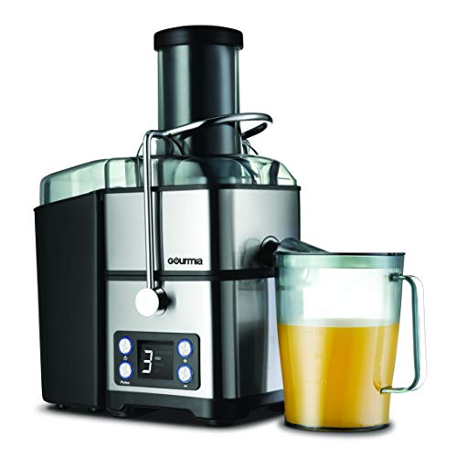 Gourmia GJ1350 Stainless Steel Wide Mouth Juicer | Digital Display | Whole Fruit Juicer | Filtration System | 4 Power Levels | Dishwasher Safe | Removable Parts | 32-Ounce Juice Reservoir | 800 Watts