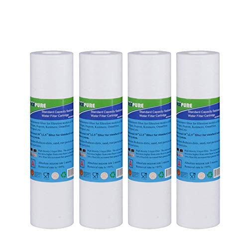 "Big Blue Sediment Replacement Water Filters 5 Micron 10"" x2.5"" Cartridge 4 Pack"