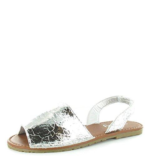 Crackle Back Flip verano mujer Damas Sandalias de mujer plata Flop de Toe Sling los Menorquina Tamaño de de Peep para zapatos Olly fHqCww