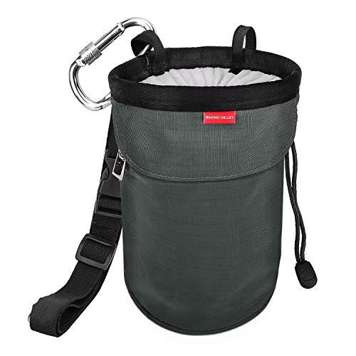 Rhino Valley Climbing Chalk Bag, No Leak Drawstring Closure Bag with Adjustable Belt, Carabiner Clip and Zippered Pockets for Climbing, Gymnastics, Cross Fit, Weight Lifting & More, Charcoal Gray (Chalk Nylon Bag)