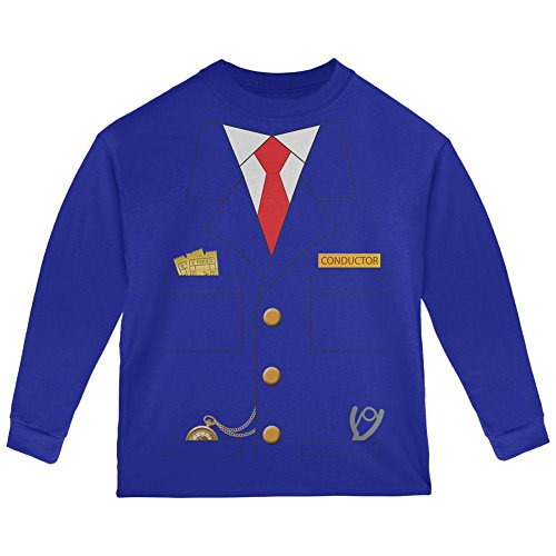 Halloween Train Conductor Costume Toddler Long Sleeve T Shirt Royal 2T ()