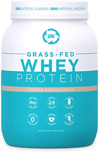 Grass Fed Whey Protein Vanilla 2lb – 100 Pure and Natural – 2 lb 26 Servings – 24g Protein – Cold Processed – Non-GMO – rBGH-Free – High Quality from Happy Healthy Cows USA