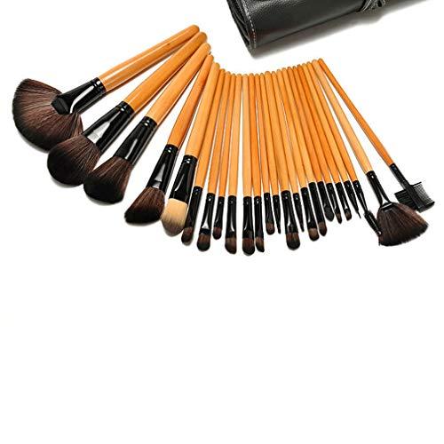 - BAIYICHEN 24 Makeup Brush Set Black Pink Wood Color Animal Hair Wooden Handle Makeup Brush Loose Powder Brush
