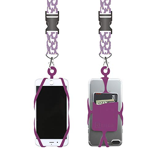 Gear Beast Universal Cell Phone Lanyard Compatible with iPhone, Galaxy & Most Smartphones Includes Phone Case Holder with Card Pocket,Soft Neck Strap with Breakaway Clasp & Detachable Convenience Clip ()
