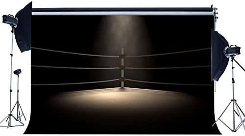 Hasdrop Vinyl 10X10FT Boxing Ring Backdrop Boxing Backdrops Interior Stadium Stage Lights Dark Athletic Sports Gymnasium Photography Background for Sports Activity Competition Photo Studio Props KX666