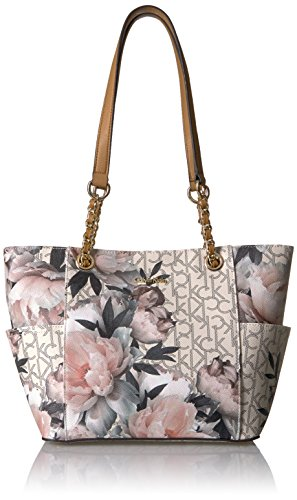 Calvin Klein Key Item Chain Monogram Tote, Peony Multi