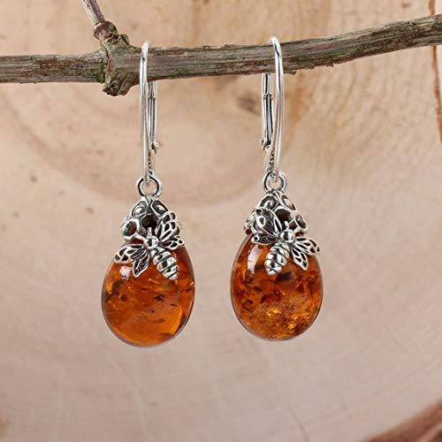 10e7a33d1 Sterling Silver Natural Honey AMBER & BEE Drop Earrings: Amazon.co ...