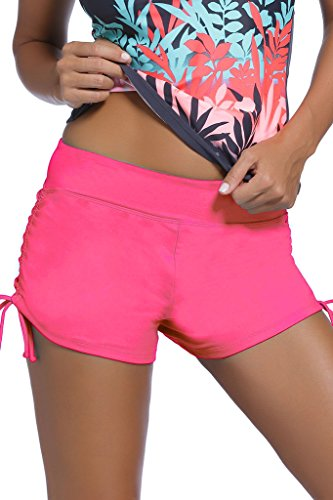 Dokotoo Women's Wide Waistband Swimsuit Bottom Mini Shorts,Rose2, Size: US 22-24=Waist 39 inch, Tag Size:XXX-Large