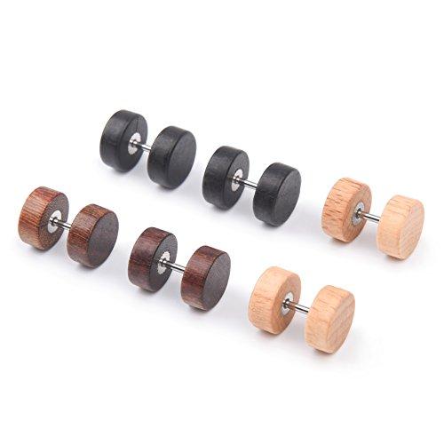 Milakoo 18G 8mm Stainless Steel Men Women Wood Stud Earrings Cheater Ear Plugs Piercing 3 Pairs