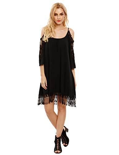 Milumia Women's Summer Cold Shoulder Crochet Lace Sleeve Loose Beach Dress Black L