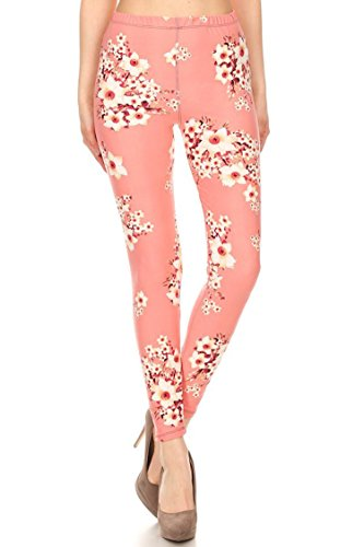 Leggings Mania Women's Floral Printed High Waist Soft Leggings Blush Pink Pink Floral Leggings