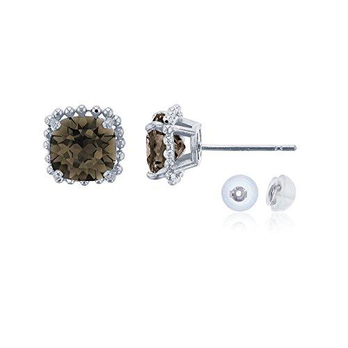 Cushion Cut Smokey Quartz Bead Frame Stud Earring with Silicone Back ()