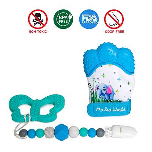 Babies | Teething Mitt, Silicone Pacifier Clip, Teether Ring for Baby Age 3 Months in Blue ()