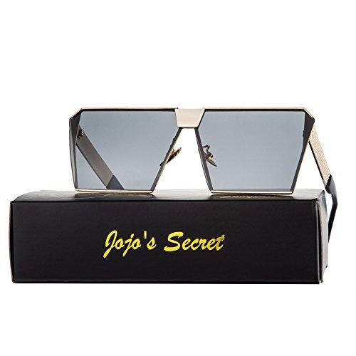 JOJO'S SECRET Oversized Square Sunglasses Metal Frame Flat Top Sunglasses - F Sunglasses You