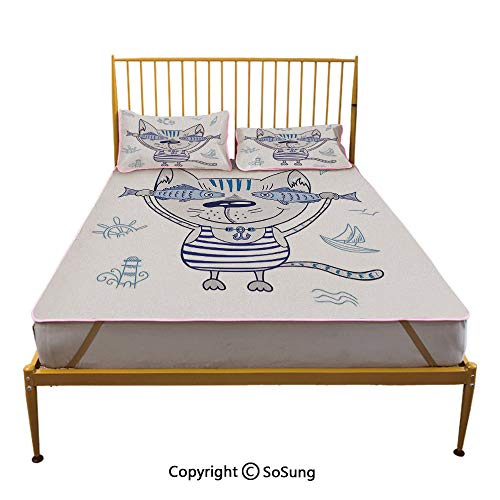 Ocean Animal Decor Creative Full Size Summer Cool Mat,Naughty Cat with Fish in Striped T Shirt Anchor Pendant and Nautical Sign Sleeping & Play Cool Mat,Blue Grey