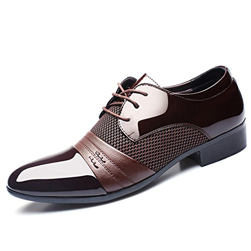 Shoes Spring Fashion Fall 4 Leisure Formal Oxford Brown Men Dress Leather 2018 for Patent Wedding Collection Derby U4wYxq