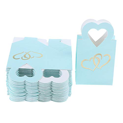 50pcs Romantic Double Heart Gift Candy Boxes Wedding Anniversary Party Favor Bag |Color - Blue|