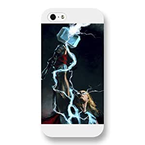 UniqueBox Customized Marvel Series Case for iPhone 5 5S, Marvel Comic Hero Thor iPhone 5 5S Case, Only Fit for Apple iPhone 5 5S (White Frosted Case) WANGJING JINDA