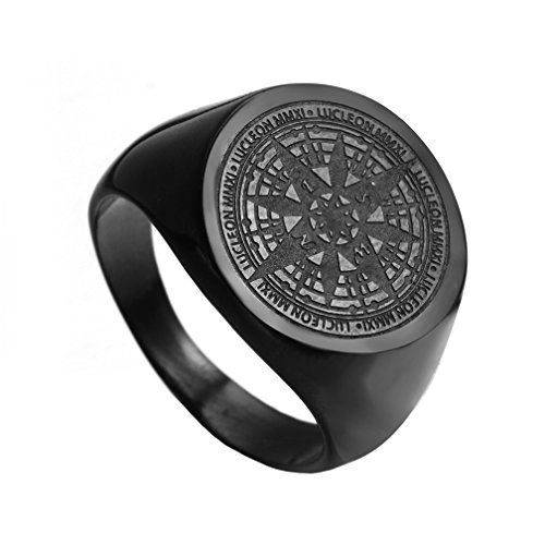 Oakky Men's Stainless Steel Stars Vintage Round Compass Signet Ring Black Size 9