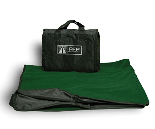 Active Family Products Premium Large Waterproof, Windproof, Quilted Fleece Stadium Blanket, Machine Washable, Camping, Picnic & Outdoor, Beach, 50 x 60 inches (Forest Green)