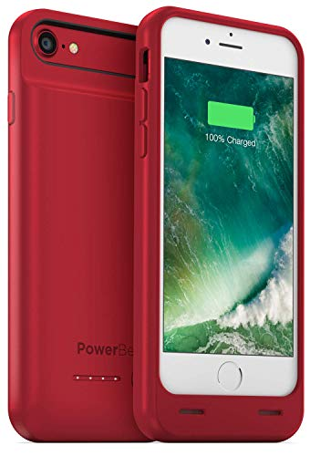 PowerBear iPhone 7 Battery Case/iPhone 8 Battery Case (MFI) [3100mAh] High Capacity Rechargeable Charger Pack for Apple iPhone 7/8 (Up to 160% Extra Battery) - RED [24 Month Warranty]