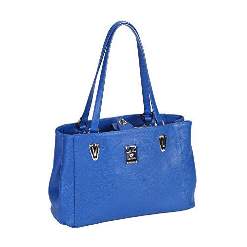 piero guidi Shopper - Bolso de asas de Piel para mujer Azul turquesa 31,5x21,5x13