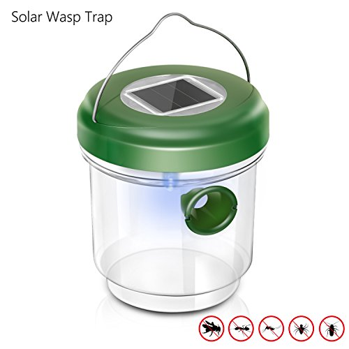 Adoric Wasp Trap Catcher, Life Outdoor Solar Powered Trap with Ultraviolet LED Light for Bees, Wasps, Hornets, Yellow Jackets, Reusable (Catcher Made Wasp Home)