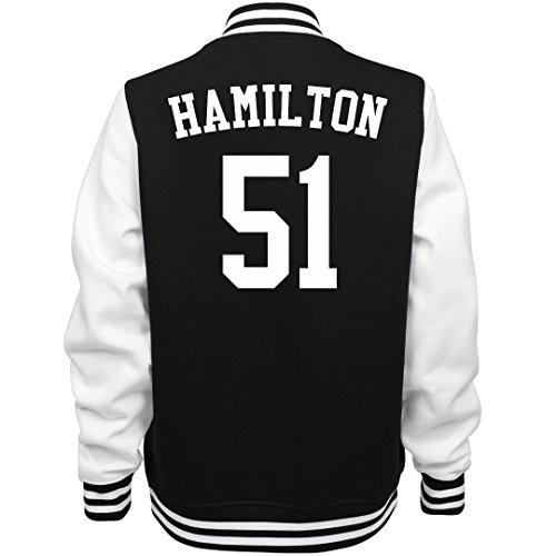 Hamilton The Other 51 Varsity: Ladies Fleece Letterman Varsity Jacket Black/White