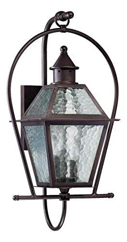 Three Light Oiled Bronze Clear Hammered Glass Wall Lantern