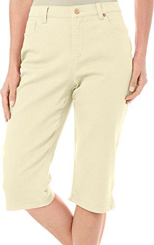 Gloria Vanderbilt Womens Amanda Average Colored Denim Skimmer Capri (8, Dandelion (Girls Embroidered Denim Capri Pants)