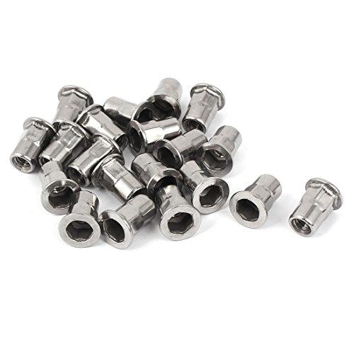 uxcell M6 304 Stainless Steel Hex Flat Head Rivet Nut Insert Nutsert 20pcs