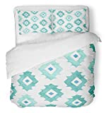 Emvency 3 Piece Duvet Cover Set Breathable Brushed Microfiber Fabric Green Southwest Watercolor Geometrical in Mint Colors Colorful Watercolour Chevron Bedding Set with 2 Pillow Covers Twin Size