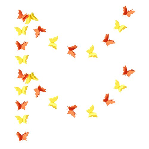 Zilue Butterfly Banner Decorative Paper Garland for Wedding, Baby Shower, Birthday & Theme Decor 110 Inches Long Set of 2 Pieces Orange ()