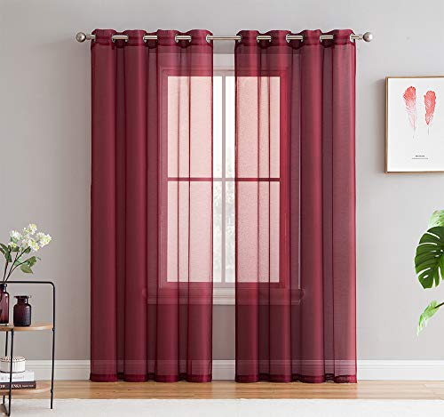 HLC.ME 2 Piece Sheer Voile Window Curtain Grommet Panels for Living Room (Burgundy) - 84