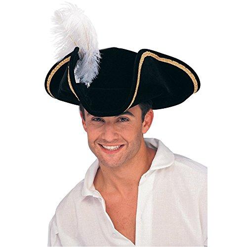 Baoer Rubie`s Costume Buccaneer Tricorn Hat, Black, One Size One Size Black -