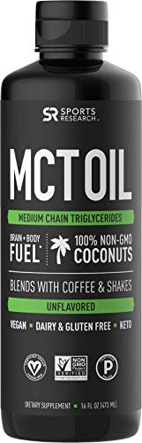 (Premium MCT Oil derived only from Non-GMO Coconuts - 16oz BPA Free Bottle | Great in Keto Coffee,Tea, Smoothies & Salad Dressings | Non-GMO Project Verified & Vegan Certified (Unflavored))