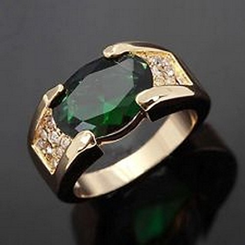 YD Jewels - 18K Gold Filled Fashion Jewelry Size 8 Emerald Cut Mens Party Rings Gift