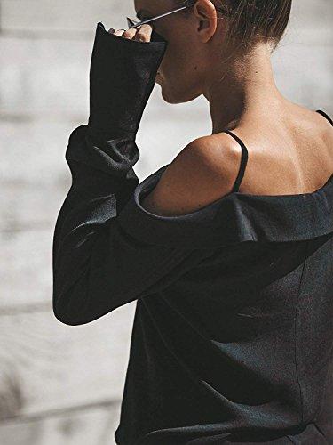 en Chemise Bretelles Tomwell Noir Manches Unie Chemise Blouse sans Mode paule Couleur V Longues t Femme Col Lache ppagq0xU