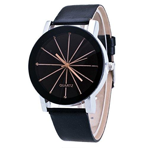 Damenuhren schwarz  Mode Klassisch Damenuhren Herrenuhren Quarzuhr Pu Uhrenarmbänder ...