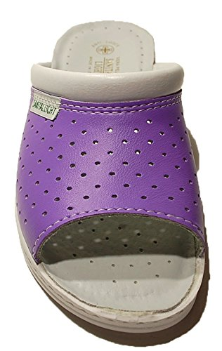Ciabatta Ciabatte Pantofola Pantofole Donna Viola Sanitaria Sanitarie Aperta Aperte In Pelle Made In Italy Sanital Light Art1251