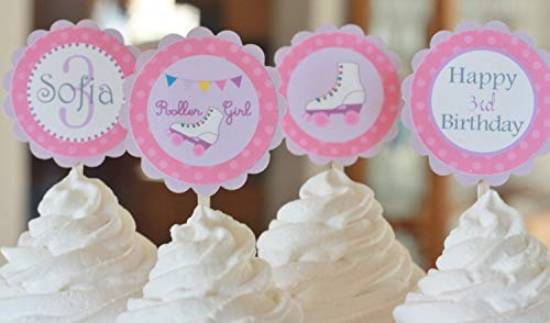 12 - Roller Skate Skating Pink & Purple Birthday Cupcake Toppers - Party Packages, Tags, Banners, Door Signs Available -
