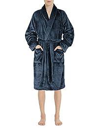 David Archy Men's Fleece Robe Ultra Soft Plush Shawl Collar 3/4 Length Long Bathrobe