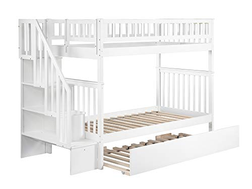 Atlantic Furniture AB56652 Woodland Staircase Bunk Bed with Urban Trundle Bed, Twin/Twin, White