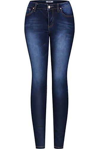 2LUV Womens Stretchy 5 Pocket Dark Denim Skinny Jeans 11 , Medium -