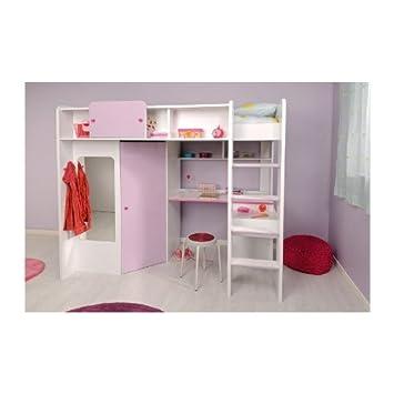 Lit combiné pour chambre Fille MISS Blanche et Rose: Amazon.fr ...