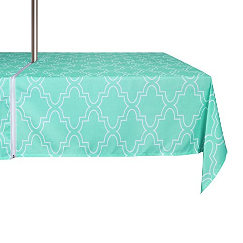 ColorBird Elegant Moroccan Outdoor Tablecloth Waterproof Spillproof Polyester Fabric Table Cover with Zipper Umbrella Hole for Patio Garden Tabletop Decor (60 x 84 Inch, Zippered, Teal) (Large Tablecloth Outdoor)
