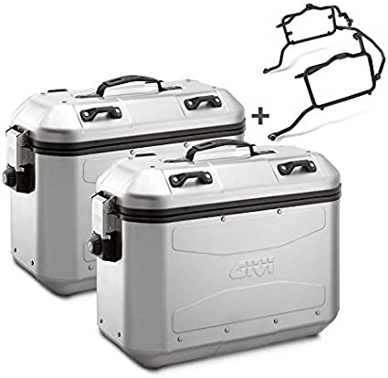 Juego de maletas laterales Set Honda Varadero XL 1000 V 99-02 Givi Monokey DLM36 plata 36 litro