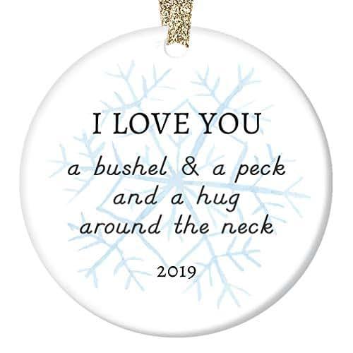 Amazon.com: 2019 Christmas Ornament Ceramic Keepsake Parents to Son Daughter Mom Dad Love Hugs ...