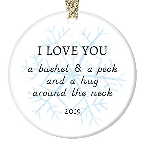 2019 Christmas Ornament Ceramic Keepsake Parents to Son Daughter Mom Dad Love Hugs & Kisses Lovely Snowflake Special Child Adopted or Stepchildren Porcelain 3